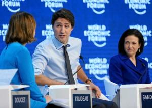 Trudeau et Sandberg, féministes à Davos