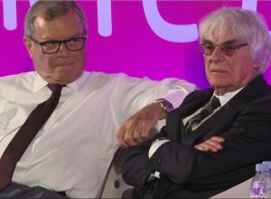 Bernie Ecclestone (à droite) à l'AWEurope le 19 avril 2016