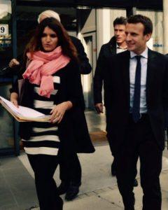 Marlène Schiappa, chargée des droits des femmes chez En Marche, et Emmanuel Macron