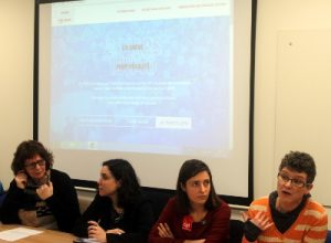 Maríanna Traustadóttir, dirigeante de la confédération Islandaise du Travail (ASI), Pauline Raufaste, vice-présidente de l'UNEF, Sophie Binet, en charge de l'égalité F/H à la CGT, Bernadette Groison, secrétaire générale de la FSU
