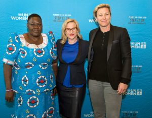 Emma Kaliya, Patricia Arquette et Abby Wambach le 13 mars 2017 à l'ONU