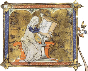 Marie de France écrivant, par le Maître de Jean de Papeleu [Domaine public], via Wikimedia Commons